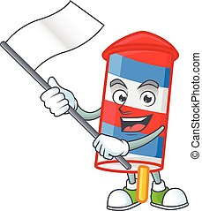 Funny rocket USA stripes cartoon character design with a flag