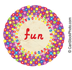 Funny round frame for kids with toys and flowers