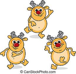 Funny Rudolph - Funny Cartoon Dancing Rudolph, vector ...