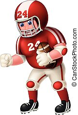 Funny Rugby American Football Player Man In Red White Uniform Number 24 Hold Ball Cartoon
