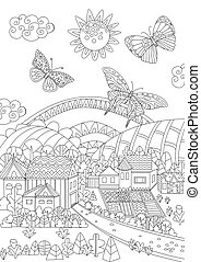 funny rural landscape with flying butterflies for your coloring