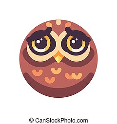 Funny sad brown owl face flat icon
