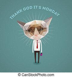 Funny sad cat - thank Got it's monday, vector Eps10...