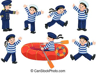 Funny sailors and captain set - Funny jolly boy-sailors in...