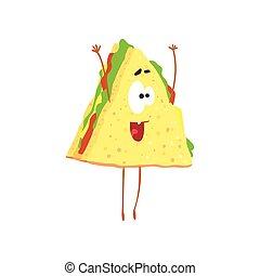 Funny sandwich cartoon fast food character, element for menu of cafe, restaurant, kids food, vector Illustration