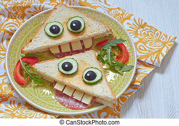 Funny sandwich for kids lunch
