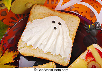 funny sandwich with ghost for halloween