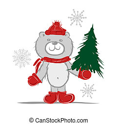 Funny santa bear with christmas tree for your design