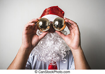 funny santa claus babbo natale on white background