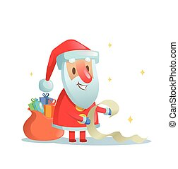 Funny Santa Claus checking his list. Cartoon Christmas card. Flat vector illustration. Isolated on white background.