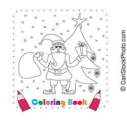 funny Santa Claus Christmas Character, coloring book