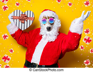 Funny Santa Claus dog holding heart shape gift