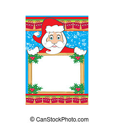 funny Santa Claus holding a Christmas frame - space for your text