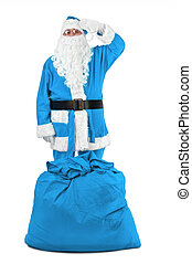 funny santa claus in blue costume salutes on white...