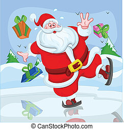 Funny Santa Claus Skiing Vector