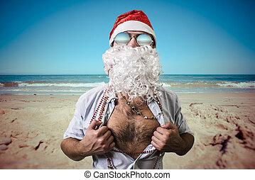 funny santa claus super hero beach summer christmas - Summer Christmas