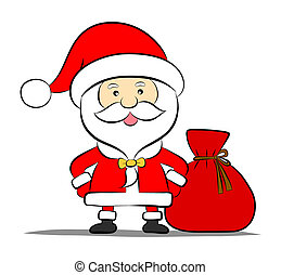 Funny Santa claus with bag of gifts