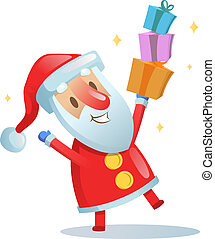 Funny Santa dancing. Cartoon Christmas card. Flat vector illustration. Isolated on white background.
