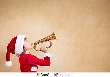 Funny Santa kid with drawn megaphone
