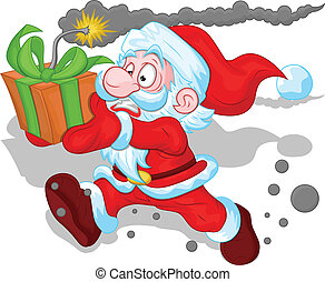 Funny Santa Running with Gift Bomb