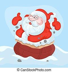 Funny Santa Stuck in Chimney
