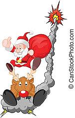 Funny Santa with Reindeer Vector