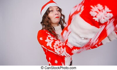 Funny santa woman