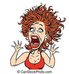 funny scared woman. Comic book cartoon pop art illustration retro drawing