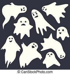 Funny scary white emotional ghost characters on dark blue background