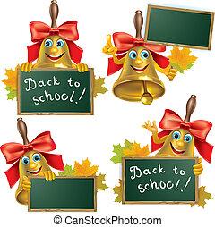Funny school bell with blackboard