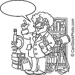 Funny scientist or inventor. With balloon for text