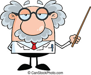 Professor Holding A Pointer - Funny Scientist Or Professor...