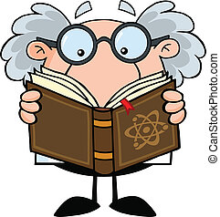 Funny Scientist Or Professor Reading A Book