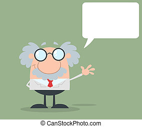 Professor Waving With Speech Bubble