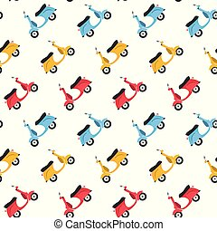 Funny scooters seamless pattern background