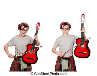 Funny scotsman with musical instrument isolated on white