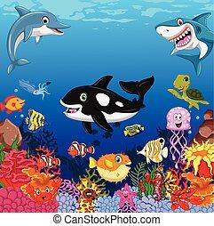 funny sea animals cartoon