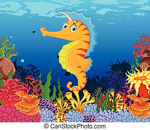 funny seahorse with sea life - vector illustration of funny...