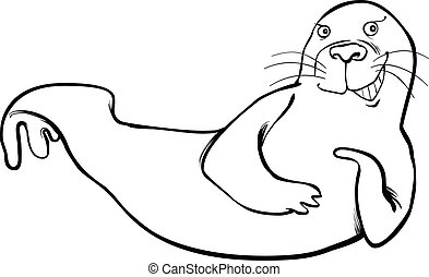 funny seal coloring page - cartoon illustration of funny...