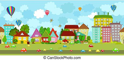 funny seamless cityscape with hot air balloons in the sky for yo