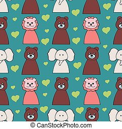 Funny seamless pattern with cartoon animal heads - vector illustration