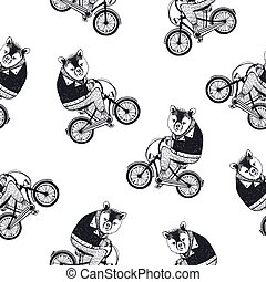 Funny seamless pattern with cute cartoon brown bear dressed in dark shirt riding bike on white background. Hand drawn vector illustration in retro style for wallpaper, fabric print, wrapping paper.