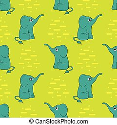 Funny seamless pattern with cute elephants.