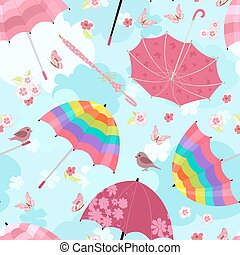 funny seamless texture with flying umbrellas for your design