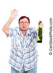 Funny senior drunk woman