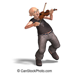 funny senior plays the violin - 3D rendering of a funny ...