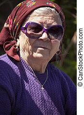 Funny senior woman