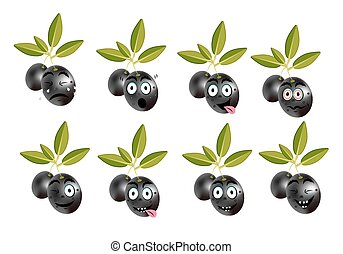 Funny set, collection of isolated, black olives with leaves ...