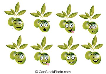 Funny set, collection of olives with leaves and face - ...
