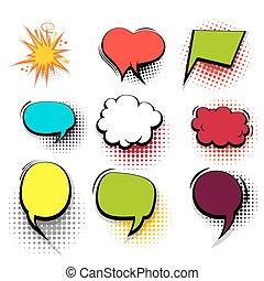 Funny set colored comic speech bubble heart burst